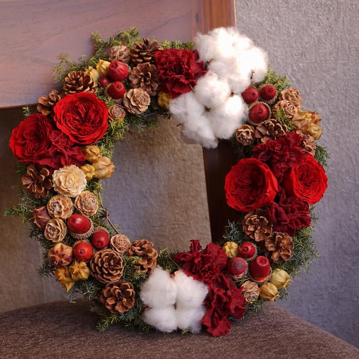 プリザ クリスマス リース プリザーブドフラワー